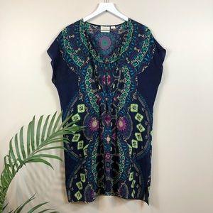 Anthropologie Maeve Mosaic Silk Kimono M